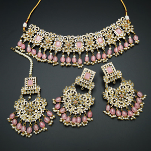 Rimi- Baby Pink/White Polki Choker Set - Antique Gold