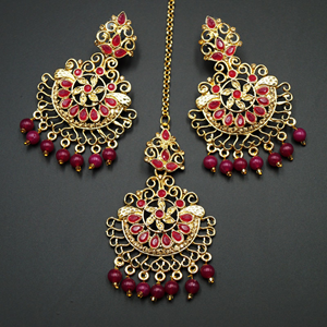 Asha- Pink/Gold Diamante Earring Tikka Set - Gold