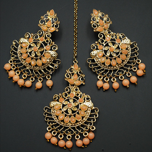 Asha- Light Peach/Gold Diamante Earring Tikka Set - Gold