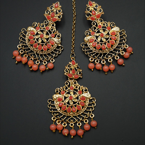 Asha- Peach/Gold Diamante Earring Tikka Set - Gold