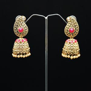 Daga- Pink /Gold Diamante Jhumka- Antique Gold