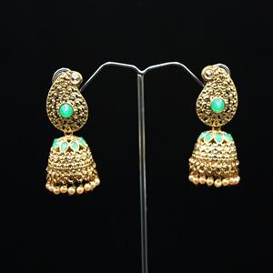 Daga- Pista/Gold Diamante Jhumka- Antique Gold