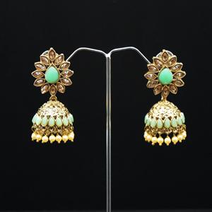 Dahnak - Pista Gold Diamante Jhumka- Antique Gold