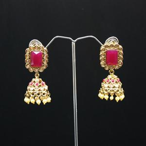 Saju- Pink/Gold Diamante Jhumka- Antique Gold
