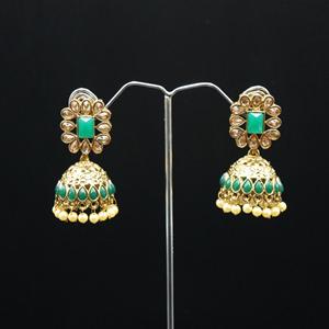 Uditi- Green/Gold Diamante Jhumka- Antique Gold