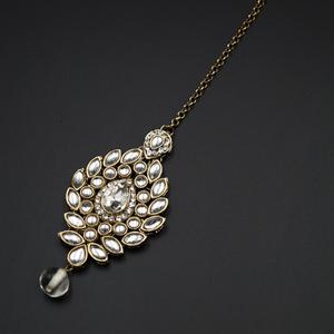 Tinu -White Stone Kundan Tikka - Antique Gold