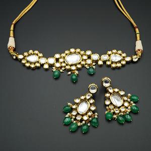 Laashya White Kundan/Mint Beads Choker Necklace Set - Gold