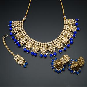 Faiha Gold Kundan/Royal Blue Beads Necklace Set - Antique Gold