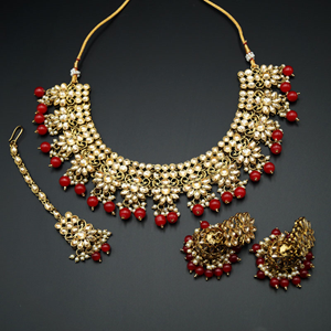 Faiha Gold Kundan/Dark Red Beads Necklace Set - Antique Gold