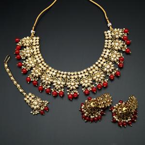 Faiha Gold Kundan/Dark Red Beads Necklace Set - Antique Gold