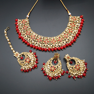 Maanvi Gold Diamante/Red Beads Necklace Set - Antique Gold