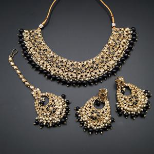 Maanvi Gold Diamante/Black Beads Necklace Set - Antique Gold