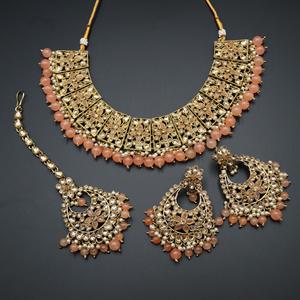 Maanvi Gold Diamante/Peach Beads Necklace Set - Antique Gold
