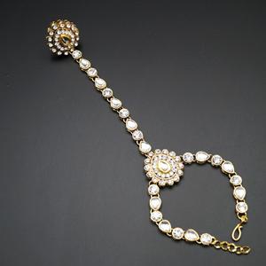 Taashi White Diamante Stone Hath Panja - Gold