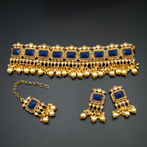 Rai - Gold Diamante & Navy Blue Choker Necklace Set - Gold