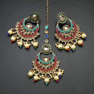 Jaap - Multicolour Necklace Set - Antique Gold