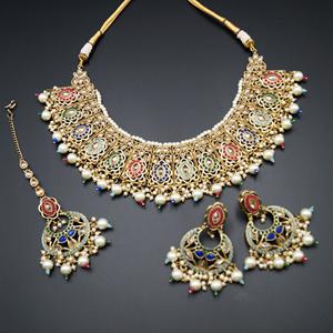 Eesi - Multicolour Necklace Set - Antique Gold