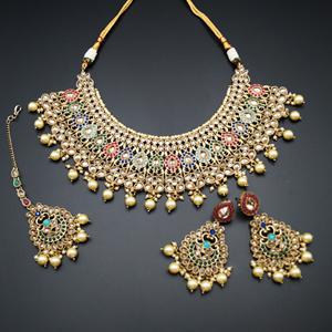 Heer - Multicolour Necklace Set - Antique Gold