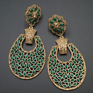Mair - Green & Gold Stone Earrings