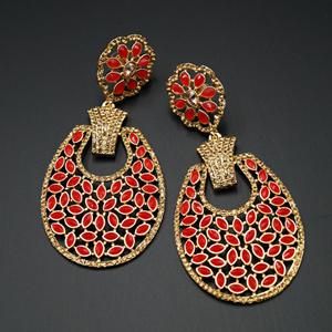 Mair - Red & Gold Stone Earrings