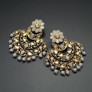Nari - Grey & Gold Kundan Stone Earrings - Antique Gold