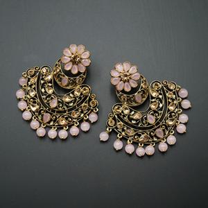 Nari - Baby Pink & Gold Kundan Stone Earrings - Antique Gold