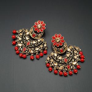 Nari - Red & Gold Kundan Stone Earrings - Antique Gold