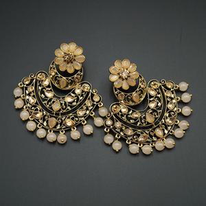 Nari - Light Peach & Gold Kundan Stone Earrings - Antique Gold
