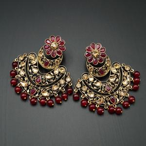 Nari - Maroon & Gold Kundan Stone Earrings - Antique Gold