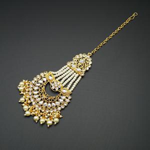 Eana - White Diamante Stone Tikka - Gold