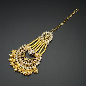 Eana - Gold & White Diamante Stone Tikka - Gold