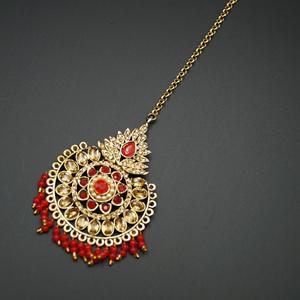Lini - Red & Gold KundanTikka - Gold