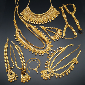 Jeeva Gold Kundan & Pearl Bridal Set - Gold