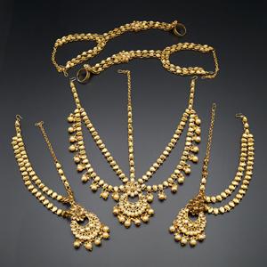 Jeeva Gold Kundan & Pearl Bridal Set - Gold