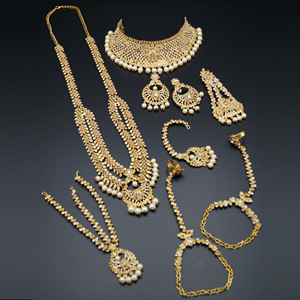 Aama White - Gold Diamante & Pearl Bridal Set - Gold