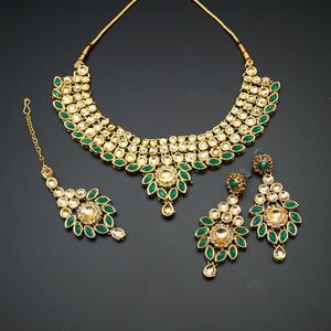 Fazai Green & Gold Kundan Necklace Set - Gold