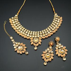 Fazai Peach & Gold Kundan Necklace Set - Gold