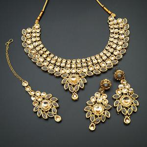 Fazai Grey & Gold Kundan Necklace Set - Gold