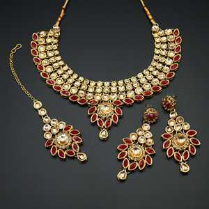 Fazai Ruby & Gold Kundan Necklace Set - Gold