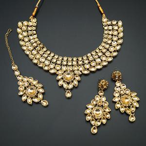 Fazai Gold Kundan Necklace Set - Gold