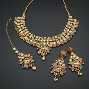 Fazai Multicolour & Gold Kundan Necklace Set - Gold