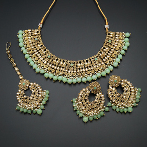 Lara Gold Kundan/Mint Beads Necklace Set - Antique Gold