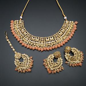Lara Gold Kundan/Peach Beads Necklace Set - Antique Gold