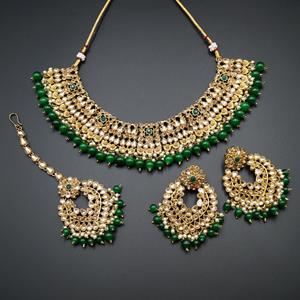 Lara Gold Kundan/Green Beads Necklace Set - Antique Gold