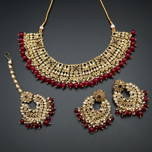 Lara Gold Kundan/Ruby Beads Necklace Set - Antique Gold