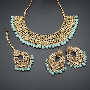 Lara Gold Kundan/Sky Blue Beads Necklace Set - Antique Gold