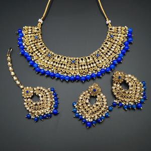 Lara Gold Kundan/Royal Blue Beads Necklace Set - Antique Gold