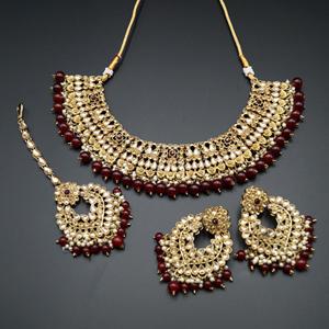Lara Gold Kundan/Maroon Beads Necklace Set - Antique Gold