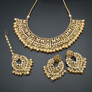 Lara Gold Kundan Necklace Set - Antique Gold