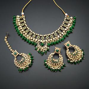 Rada Green & Gold Kundan Necklace Set - Antique Gold